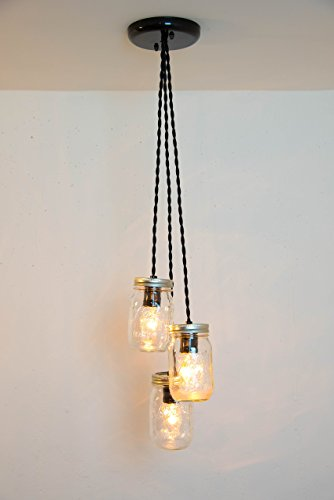Mason Jar Chandelier 3 Clear Jars Pendant Light