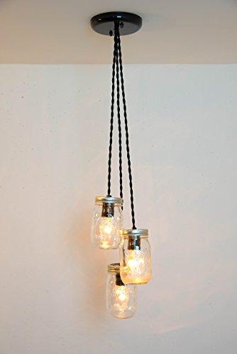 Mason Jar Chandelier 3 Clear Jars Pendant Light (Mason Jar Chandelier)