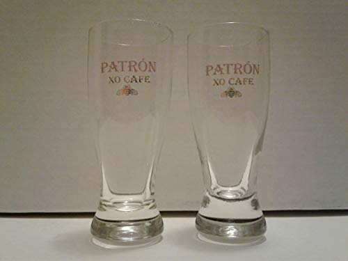 Set of 2 Patron Silver Tequila XO Cafe Tasting Double Shot Glasses- Hourglass Shape