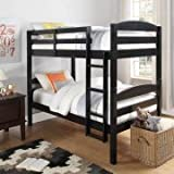 Better Homes and Gardens Leighton Twin Over Twin Wood Bunk Bed, Multiple Finishes, Black