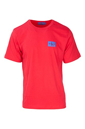 Calvin Klein Jeans Hombre Camiseta Monogram Chest Badge, Negro Rojo