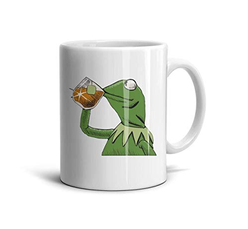 DHJSAG Daily Use White Coffee Mugs Funny-Green-Frog-Sipping-Tea Polished Ceramic Customized 330ml Cup Teacup 11 oz -