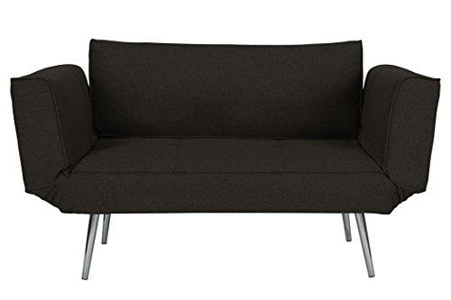 DHP Euro Sofa Futon Loveseat with Chrome Legs and Adjusta...