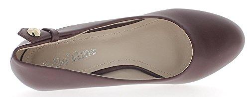 ChaussMoi Offset de Zapatos de Mujer Burdeos Ronda Termina EN el Tacón DE 6 cm