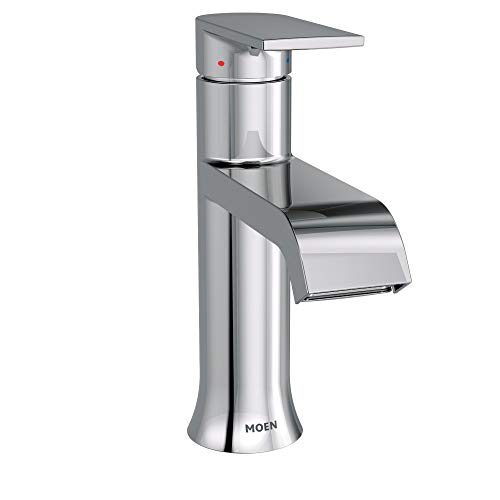 Moen 6702 Genta One-Handle Single Hole Modern Bathroom Sink Faucet with Optional - Double Mirrors Bathroom Two Or Sink Small One