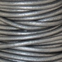 #47 Metallic Grey Round Leather Cord 2mm (3/32'') x 50 meters (54.68 yds) by NTP