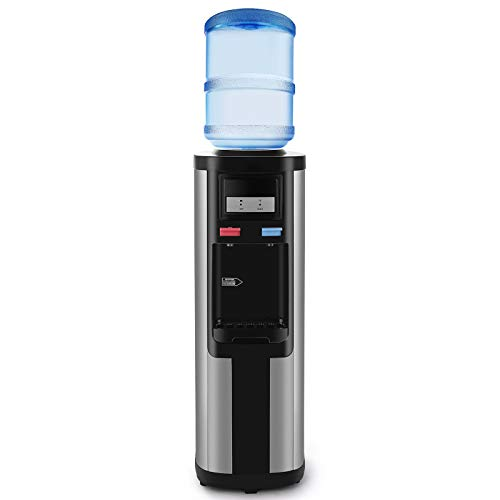 Compressor Cooling (4-EVER Water Cooler Dispenser Top Loading 5 Gallon Stainless Steel Freestanding Compressor Cooling,Hot and Normal Temperature Water, Black)