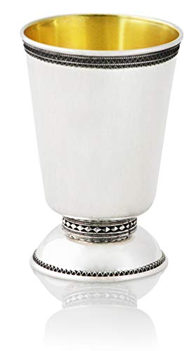 - Handmade 925 Sterling Silver Filigree Rim Kiddush Cup & Matched plate set Jewish holiday gift Made in Israel