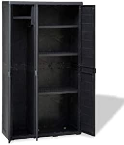 """Storage Shed, Outdoor Storage Cabinet Indoor Storage Utility Cabinet with 4 Shelves, 3 Doors and Security Lock for Home Patio 38.2"""" x 15"""" x 67.3"""""""