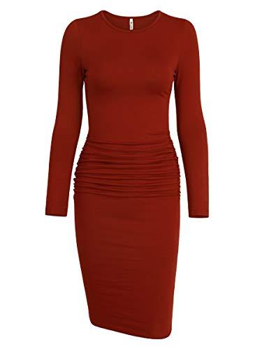 Missufe Women's Ruched Casual Sundress Midi Bodycon Sheath Dress (Long Sleeve Rust, X-Large) (Cotton Sheath)