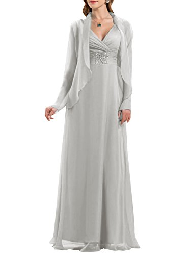 ModeC Long V-Neck Chiffon Beaded Mother of The Bride Formal Dress with Jacket Silver US26W