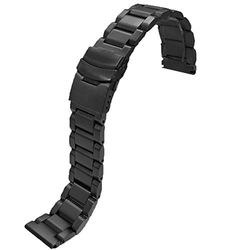 24mm Black Matte Wrist Bracelet Top Grain Stainless Steel Replacement Watch Band with Double Locks by SINAIKE (Image #1)