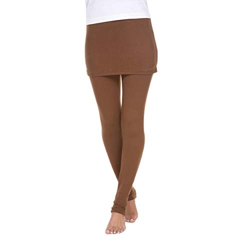 White Mark Women's Full Length Skirted Leggings Yoga Pants - Coffee Brown - Medium from White Mark