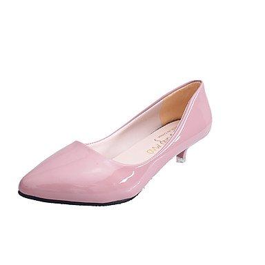 Talones de las mujeres Primavera Verano Otoño Invierno Club de zapatos de la comodidad de la PU de oficina y carrera del vestido ocasional de tacón grueso OthersBlack Rosa Rojo Blanco Gris White