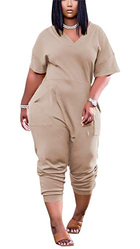 BYSYGLOBE Women's Solid Color V Neck Jumpsuits Half Sleeve Long Rompers Beam Foot Baggy Overalls Pants Beige