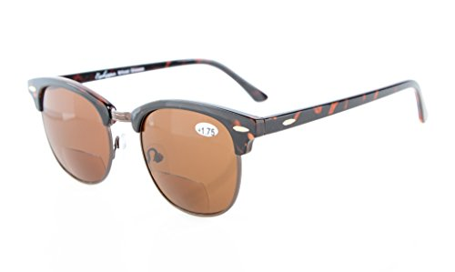 Eyekepper Semi-Rimless Bifocal Sunglasses Mens Womens Brown Lens +2.0 (Sunglasses Rimless Bifocal)