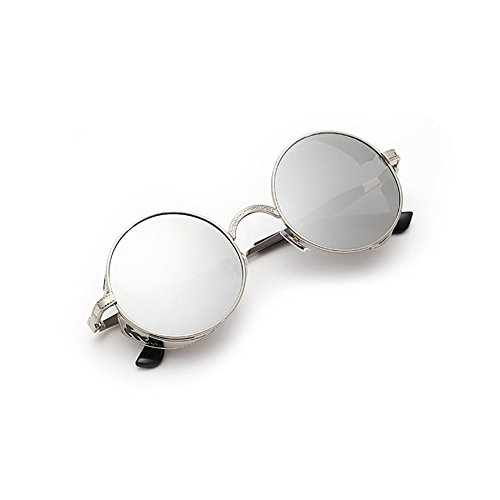 Lens Hommes Gothic Lunettes soleil Retro Frame Silver Femmes Round Sun Frame Metal Vintage glasses Silver de Steampunk qxancAgap