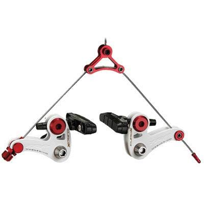 (TRP EuroX Magnesium Cantilever Front and Rear Brake Set with Straddle Cable, White/Red)