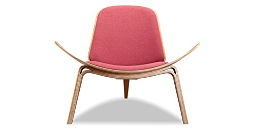 Kardiel Tripod Plywood Modern Lounge Chair, Urban Coral Twill/Oak (Urban Lounge)
