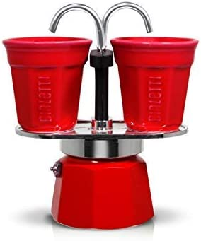 Bialetti Mini Express Set, cafetera de Aluminio 2 Tazas Color Rojo con 2 vasitos para el café Color Rojo: Amazon.es: Hogar