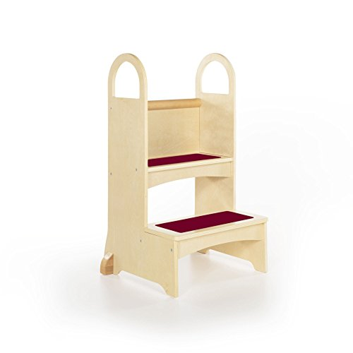 (Guidecraft Kitchen Helper High-Rise Step-Up - Natural: Wooden Step Stool for Toddlers, Counter Height with Handholds - Quality Kids')