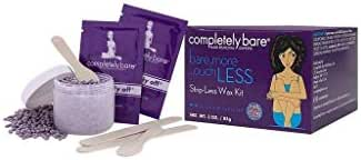 Completely Bare Strip-Less Wax Kit- Hard Wax Pearls For Brazilian & Full Body Hair Removal, Easy To Use, Natural Coconut Oil to Sooth & Moisturize Skin, Cruelty Free & Paraben Free, Vegan Formula, 3oz