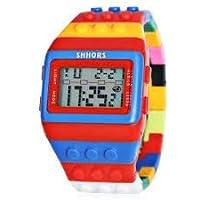 New New Gift Unisex Digital retroiluminación muñeca Reloj con Colorido Band Cronómetro & Alarma & Fecha & Rojo