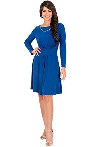 KOH KOH Petite Womens Long Sleeve Dressy A-line Fall Winter Formal Flowy Work Empire Waist Knee Length Vintage Swing Modest Cute Abaya Mini Midi Dress Dresses, Cobalt/Royal Blue S 4-6