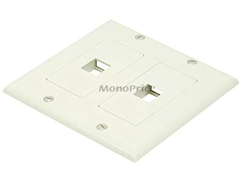(Monoprice 106830 2-Gang Wall Plate for Keystone 2 Hole, Ivory)