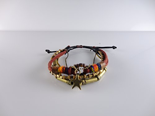 Mixed with Genuine Leather, Rope, Chain Bracelet with Star, Fits for All, Adjustable by Handmade Studio HS4036R
