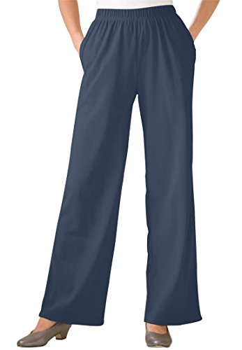 Women's Plus Size Tall 7-Day Wide Leg Knit Pants Navy,2X