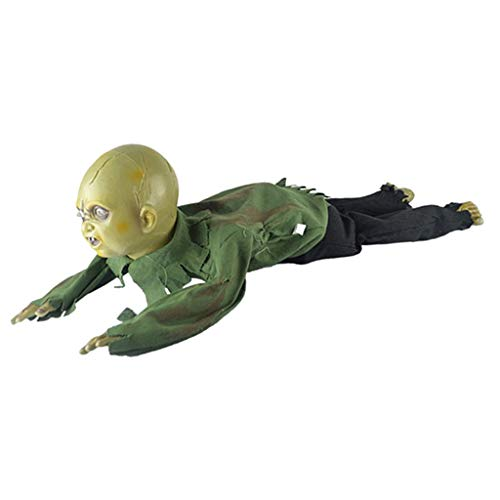 Fenteer Crawling and Screaming Man Figure Bareheaded Ghost Doll Halloween Prop Party -