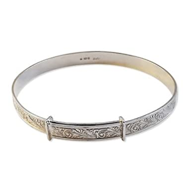 QUALITY UK Sterling Silver 7mm Expanding Engraved Bangle Ladies Adjustable Diameter 55 to 60mm v8CMHXF