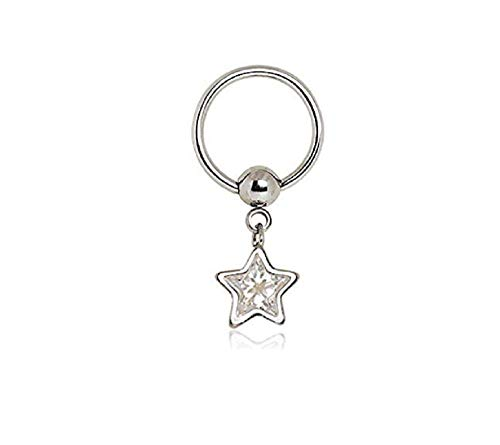 Freedom Fashion 316L Surgical Steel Captive CZ Star Dangle Captive Bead Nipple Ring (Sold by Piece)