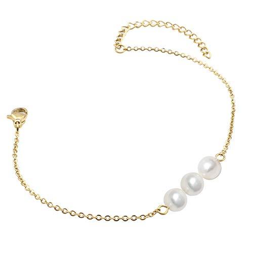Fondgem White 3 Pearl Bar Bracelet - Pretty Stainless Steel Small Bridal Dainty Bright White Three Children Original Luxury Large Personalized Pearl Bead Bracelet Jewelry for Grandma Women Girl