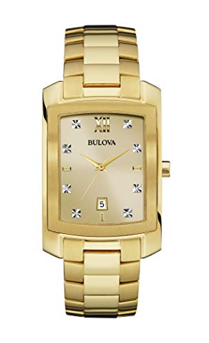 Bulova Mens 97D107XG Genuine Diamond Markers Yellow Gold Quartz Dress 31mm Watch (Renewed)