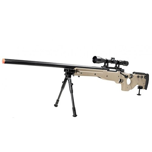 well mb08d l96 spring airsoft gun metal sniper fps-450 w/ 3-9x40 scope & bipod (tan)(Airsoft Gun) by Well