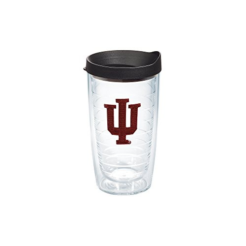 Tervis 1056586 Indiana University Emblem Individual Tumbler with Black lid, 16 oz, Clear
