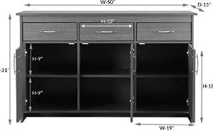 Shilpi Wooden Multipurpose Storage Cabinet 3 Doors & Drawers Natural Brawn Finishing