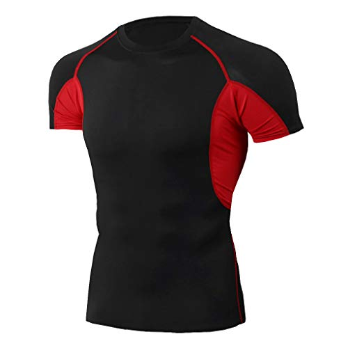 iHPH7 T-Shirt Men Dry-Fit Moisture Wicking Active Athletic Performance Crew T-Shirt Man Workout Short Sleeve Fitness Sports Running Yoga Athletic Shirt Top Blouse XXL 4- Red]()