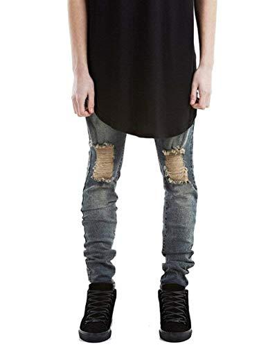 Grau Especial Fit Jeans Strappati Skinny Estilo Uomo Da Slim Tasche Con Denim Pantaloni F7q70Xw