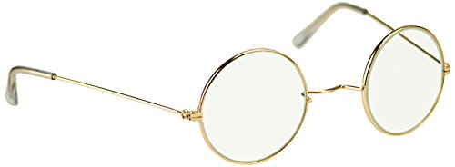 Granny Costume Accessories (Sunnywood Men's Santa Metal Frame Glasses, Gold, One Size)