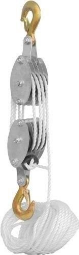 ks-4000lb-2-ton-65-feet-of-38-poly-rope-hoist-pulley-block-and-tackle-rope-71-lifting-power
