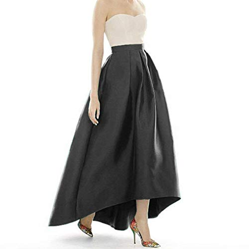 DreamSkirts Women's Taffeta Maxi Skirts Front Short Long Back High Waist Fomal Prom Party Skirts with Pockets -