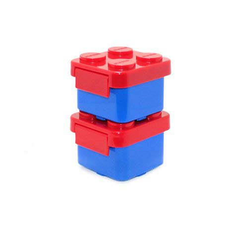 Stackable Lunch Box Bento Box Container Salad Box Oxford Block Brick Design For Children Kids Family Picnic Travel (mini-RedBox-2pcs)