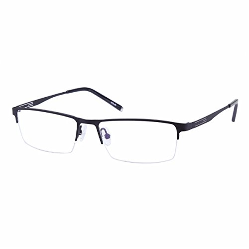 Shortsighted Glasses Titanium Alloy Half-Frame Myopia Glasses -3.00 Men Women Black ***Please Kindly Note These are not Reading Glasses***