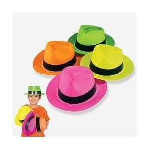 14db82d2472 Bulk NEON COLOR PLASTIC GANGSTER HATS with black band (1 DOZEN) - Assorted  bright neon colors Toy   Game   Play   Child   Kid  Amazon.co.uk  Toys    Games