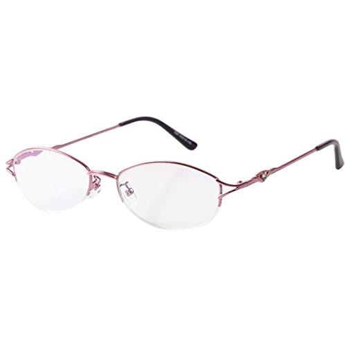 c25dd3458 Deylaying Gafas de lectura Resina Revestimiento Lente Metal Medio marco  Rosado Elegante Mujer Retro gafas 1.0