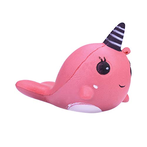 Zekpro Slow Rising Squishy 9CM Soft Whale Cartoon Squishy Slow Rising Squeeze Toy Phone Straps Ballchains (Pink)