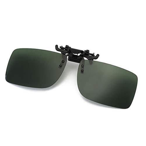 Polarized Clip-on Sunglasses with Flip Up Function Anti-Glare UV 400 Driving Glasses Clip-on for Prescription Glasses (Dark Green)